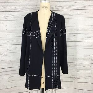 Misook pinstriped open blazer jacket